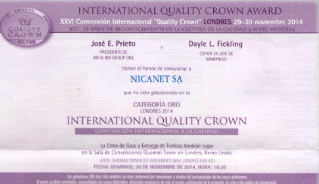 "Premio ""International Quality Crown"""